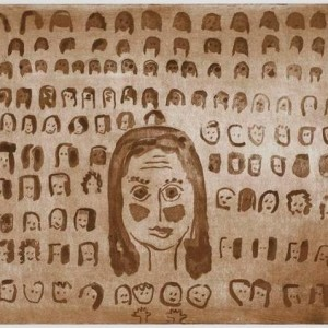 Pamela Silver, Many Faces of my Childhood, 2007, spit-bite, and sugarlift aquatint 48X55