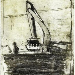 Ruth Tal, Something Happening There, 2006, soft wax, aquatint and etching on paper 26x19