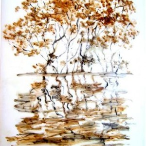 Mira Cedar, Untitled, from the series Yarkon 2, 2007, lacquer, pigment and oil on tracing paper 35X24.5