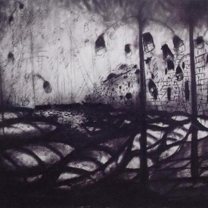 Farid Abu Shakra, Moonlight over the Port of Acre, 2001, charcoal on paper 140x100
