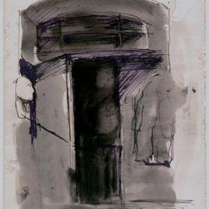 Edward Levin, The Nocturnal Door, 2002, indian ink on paper 43.2X35.5