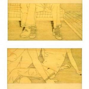 רונן סימן טוב, שפה-ספה, 2005, רפידוגרף על עץ לבוד 17X12