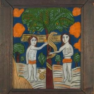 עץ, טמפרה על זכוכית המאה ה-19