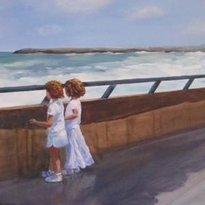 תל אביב- 2 - שתי ילדות מול הים , 2007 acrylic on canvas 60X80