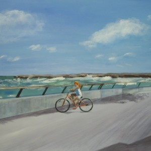 Tel Aviv- 1 - Girl cycling on the promenade, 2007 acrylic on canvas 60X90