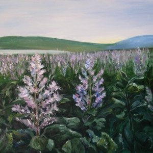 Tzora- 2 - Mauve flowers in the field, 2007 acrylic on canvas 60X80