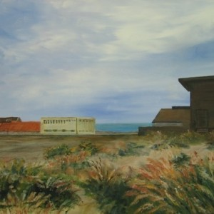 Jaffa- 1 - Thorns, warehouses and sea, 2007 acrylic on canvas 60X80