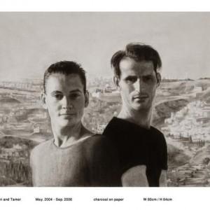 Yuri and Tamer, 2004-2008 פחם על נייר 80 על 64
