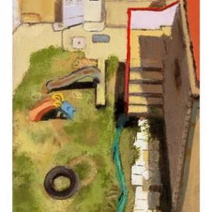 """גן ילדים מאחורי רחוב האר""""י מס' 16, ירושלים, 2006 שמן על בד 13 על 21"""