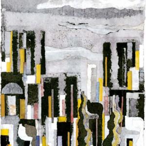 ירושלים ואותיות, 2007 קולאז' מנייר עבודת יד 51x41