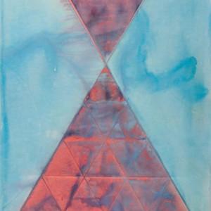 מתן תורה, 1989 אקריליק על נייר מחורץ ומקופל 110x72