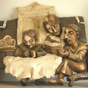 Three Women - Three Generation, 2007 ceramic relief 40x40x10 cm