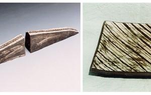 Road / Dead end, 1998/2001 black stonware,white slip 30X30 cm / 64 cm