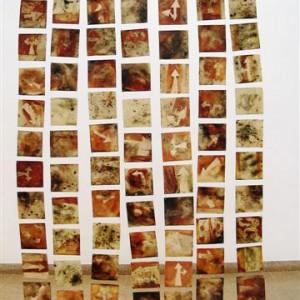 Curtain , 2001 tiles hand built oxidation & salt oxids in smoke fire 100X170 cm