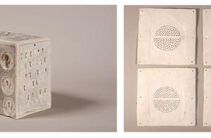 box / No Entry Curtain, 2006/2001 hand-built porcelain impressing, ceramic pencel / porcelain tiles 10X17X17 cm / 15X15 cm