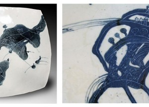 plate, 2007 slab, hand built porcelain, black slip 30X30 cm