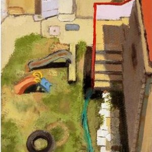 Kindergarten behind 16 Haari st. Jerusalem - Near Shulamit, 2006, oil on canvas, 13x21 cm