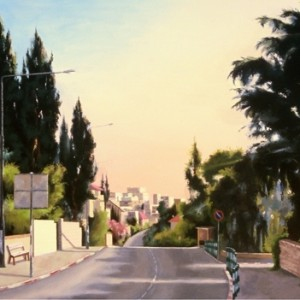 Azza Road, Jerusalem, Large version - Near Shulamit, 2006, oil on canvas, 120x95 cm