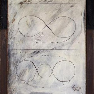 Exercise in Line 8 - Aroch Arie, 1969, Oil and pencil on canvas mounted on painted wood