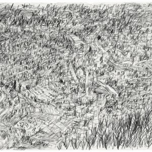 View in Jerusalem Hills , 2006 Pencil on paper 50x70