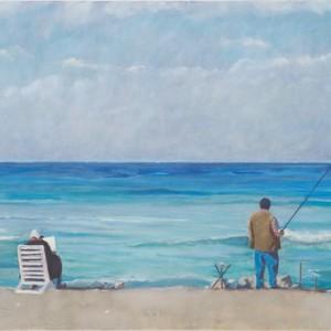 הדייג ואישתו - פסטרנק אנה, 2005 , שמן על בד פשתן, 73X100 סמ