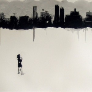 girl and city, 2009 oil on paper 70x100 cm