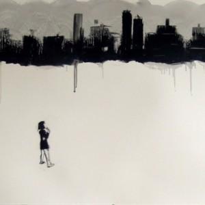 ילדה ועיר, 2009 שמן על נייר 100x70 סמ