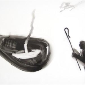 דרוש מנהיג, 2008 שמן על נייר פרגמנט 50x35 סמ