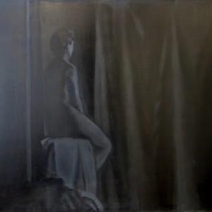 יצחק ליבנה, עירום בסטודיו 1994, שמן על בד 96X78