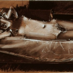 Meir Appelfeld K. reclining 2006, charcoal and white conte on paper 45X65