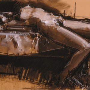 Meir Appelfeld K. reclining 2006 ,charcoal and white conte on paper 45X65