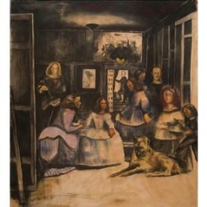 """""""לאס מנינאס"""" ומשפחתי, לפי ולאסקז , 2007-9 פחם ופסטל על נייר 160x180"""