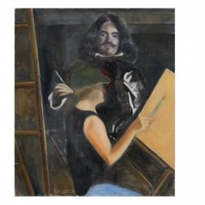 ולאסקז ואני מציירים - בן יעקב - רוזנבלום אנסטסיה, 2005 , שמן על בד מודבק על פנל,  35x40