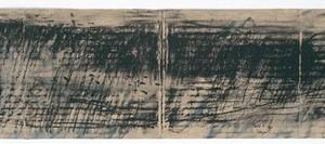 """""""חית הלילה"""" – מחווה לאבות ישורון , 2007 פחם על נייר קרטון חום 56X13.5 סמ"""