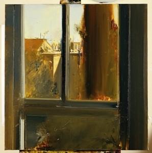 """מאיר אפלפלד מראה מחלון הסטודיו, 2009, שמן על פשתן, 86X84 ס""""מ"""