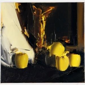 """מאיר אפלפלד טבע דומם עם קופידון ותפוחים, 2009, שמן על פשתן ,50X48 ס""""מ"""
