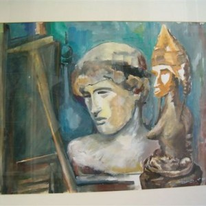 Statues in the Studio, 1984 oil on canvas 60x90 cm