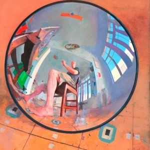 Self Portrait in Convex Mirror - Ar Amnon David, 2008, oil on canvas, 94x89 cm