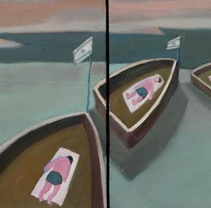 Three Boats, 2007, oil on canvas 60x100 cm