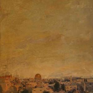 """ירושלים, שמן על לוח 60X40 ס""""מ"""