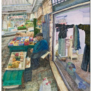 Yitschak the schug man in shuk Mahane Yehuda, 2009 Oil on canvas 90x100 cm