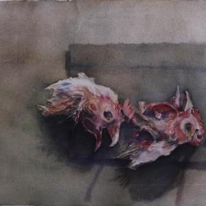"""טבע דומם, 1998 צבע מים על נייר 69 על 51 ס""""מ"""