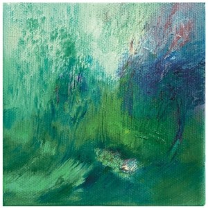 """אור בוקע ביער ירושלים, 2009 שמן על בד 12.7X12.7 ס""""מ"""