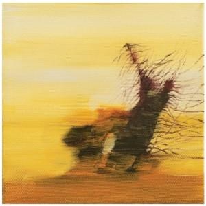 """תפילה לגשם במדבר, 2009 שמן על בד 13X13 ס""""מ"""