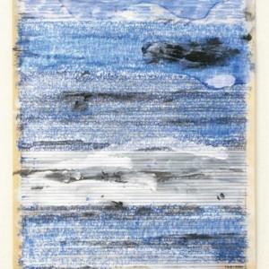 """אמיל אברהם, מחיקה מס' 4, 2009, צבעי אקריליק, עיפרון ועט כדורי על עיתון 26X36.7 ס""""מ"""