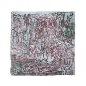 """דיויד אייזקס, מנוחה, 2010, חריטה, גואש וסופרקריל על נייר עשוי ביד 50.5X50.5 ס""""מ"""