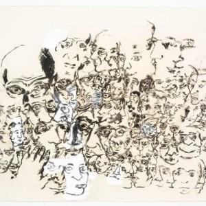 """גלעד אפרת, בלא כותרת, 2008, פחם וג'סו על נייר 102X67 ס""""מ"""