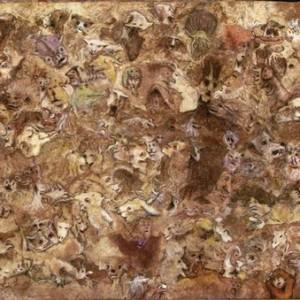 """דוד ארביטמן, סבך הדמיון, 2010, פחם ופסטל על נייר אמטה מופק מעץ 60X40 ס""""מ"""