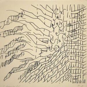 """יצחק דנציגר, מן הסדרה """"שיקום מחצבת נשר"""", 1976, הדפס רשת על נייר 35.5X33.5 ס""""מ"""