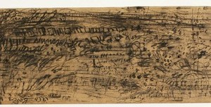 Hedva Harechavi, Knocking Behind the Water, 2009, Charcoal and graphite on cardboard 20x70 cm